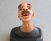 "ON SALE One of a Kind - Original ""Henry"" Polymer Clay Sculpture - Tiny Bust"