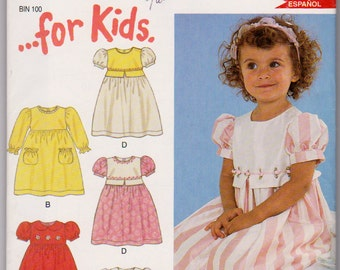 New Look 6136, Vintage kids pattern. Girls puff sleeve dress size 1/2 1 2 3 4