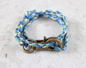 Cord Tiga - blue monsoon paracord cord wrap bracelet with clasp, unisex, adjustable size, limited edition