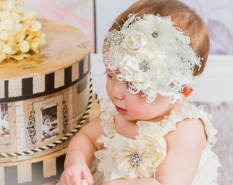 Cream Luxury Over the Top Headband Fabric Flower Ostrich Feather Gemstones Boutique First Birthday Outfit Photo Prop Birdcage netting royal