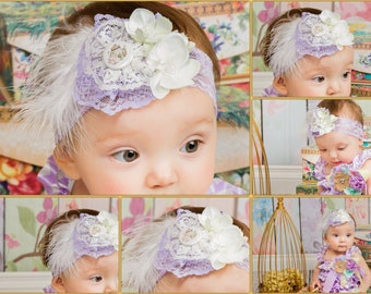 Lavender Cream Tea Pot Lace Flower Headband, Orchid Tea Party Themes Baby Girl, photo prop, baby shower gift, Lilac Light Purple Vintage