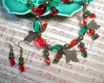 Christmas Czech Red And Green Bead Bracelet With Copper Charms And Matching Earrings Boho