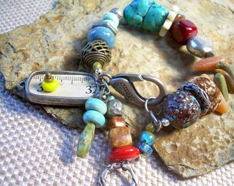 Mixed Material Nomadic Boho Bracelet With Turquoise Mixed Beads And Metals