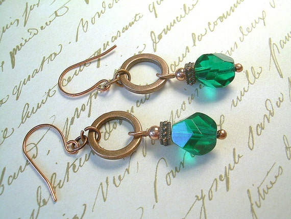 Swarovski Crystal Earrings In Gaelic Green With Copper Beads, Dangle Drop