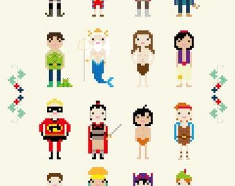 Disney Princes and Heroes Cross Stitch Pixel Sampler - PDF Pattern