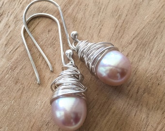 Pearl Drop Earrings Silver, Pearl Drop Earrings Silver, Sterling Silver Pearl Earrings, Wire Wrapped Pearl Earring, Gift for Her, Girlfriend