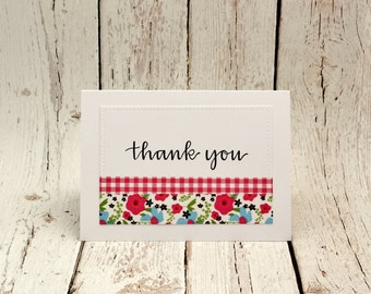 Thank You Cards, Thank You Card Set, Summer Floral Thank You Cards, Gingham Thank You Cards, Cottage Chic Thank You Cards, Bridesmaid Cards
