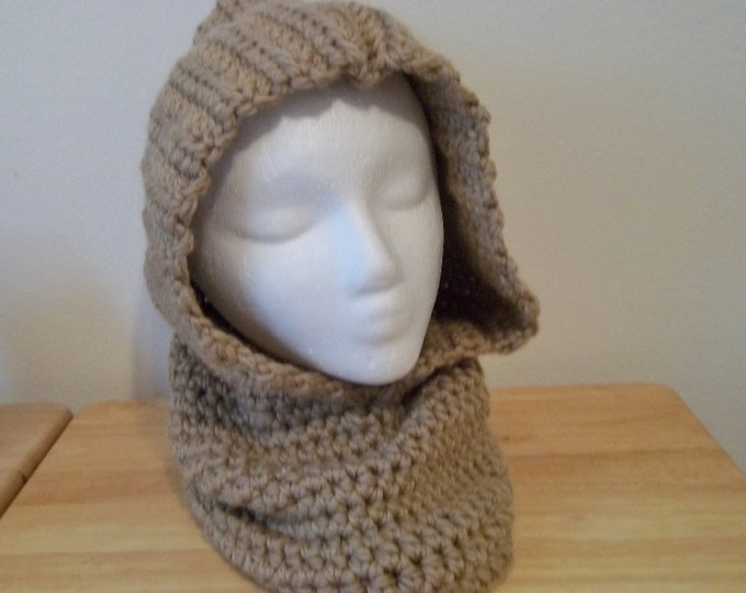 Cowl - Adult Hooded Cowl - Crochet - Acrylic/Wool - Color: Beige - For Women/Girls - Size XL
