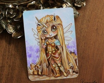 Anika - Chibi warrior unipeg girl - ACEO Kawaii Unicorn girl - Original acrylic miniature painting - Manga Anime - free US shipping