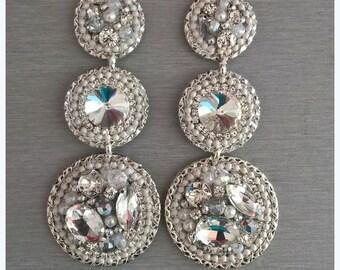 Unique statement earrings - crystal earrings - wedding earrings