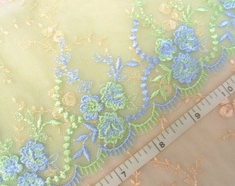 Lace trim, Embroidered lace, Tulle lace, Green lace, Wedding lace, Girls' lace, Net lace, Floral lace, 2 yards GN033