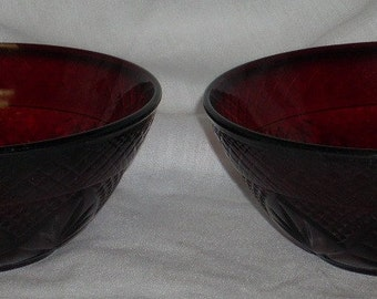 2 Crystal Cristal D'Arques Ruby Glass Bowls 5 1/2 inch