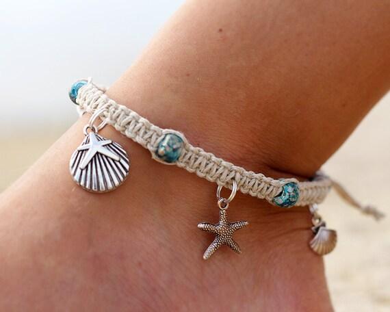 hemp anklet starfish anklet beach anklet macrame anklets