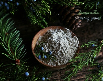 Juniper Fir Cleansing Grains. Invigorating Facial scrub exfoliant, everyday cleanser. Vegan face wash for normal to oily skin. SAMPLE