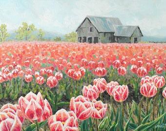 Tulip Landscape Impressionist Painting - Print