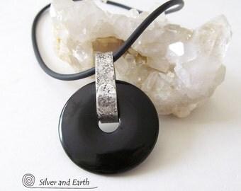 Black Onyx Necklace, Handmade Sterling Silver Necklace, Modern Chic, Black Onyx Jewelry, Minimalist, Onyx & Silver Jewelry, Everyday Jewelry