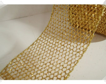 Glittered Mesh Ribbon/ Gold Color/ 3 Yards/ Craft Supplies*