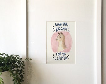 Save the drama for your Llama watercolor print