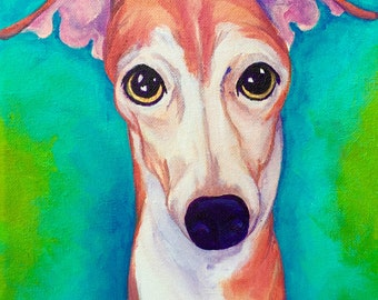 Italian greyhound art print, greyhound ft print, pet portrait