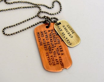 In Memory Dog Tag Necklace - Rustic Dog Tags - Mens Jewelry - Seven Blueberries - Hand Stamped Dog Tags - Personalized Jewelry