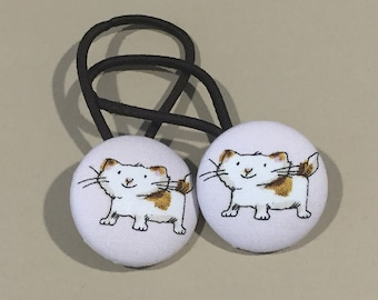 "1 1/8"" Size 45 Brown/White Cat Fabric Covered Button Hair Tie / Ponytail Holder / Party Favor (Set of 2)"