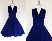 1950s Dress - Vintage 50s Dress - Blue Velvet Bust Shelf Holiday Party Circle Skirt Dress M L - Winter Horizon Dress