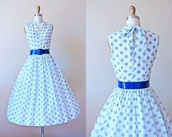 50s Dress - Vintage 1950s Dress - Navy Blue White Gingham Polka Dots Sheer Tie Neck Sundress S - Fancy Free Dress