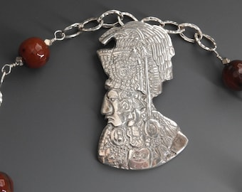Fine Silver Mayan God and Carnelian Necklace