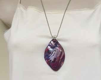 Hand sculpted polymer clay pendant one of a kind