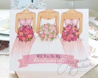 Semi-Custom Will You Be My Bridesmaid? Card / Wedding Note Card, Bridesmaid Note Card, Bridesmaid Greeting Card, Fashion Illustration Card