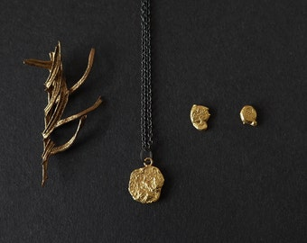"24k Gold Plated Jewelry Set, 18"" Pendant Chain Necklace, Gold Pendant Necklace, Minimalist Gold Earrings, Gold Jewelry Gift Set"
