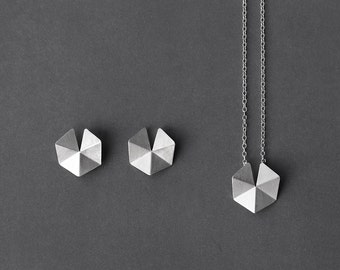 "Geometric Silver Jewelry Set, 18"" Geometric Pendant Necklace, Geometric Silver Earrings, Silver Hexagon Earrings, Geometric Jewelry Set"
