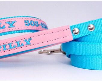 Custom Dog Leash Dog Collar and Nylon Dog Id Tag Identification Dog Collar Leash Set  with free Embroidery