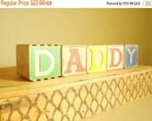 """DADDY wood alphabet blocks, father-to-be, new dad, large 2"""" letter blocks, pregnancy reveal, stocking stuffer, gifts under 25"""