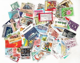 Vintage 100 Piece Lot of Off-Paper Worldwide Postage Stamps for Philately Scrapbooking Decoupage Mixed Media Art and Craft Projects