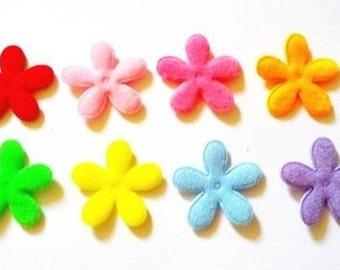 100 pcs plain felt Flowers Appliques Embellishment Mix colors size 25 mm