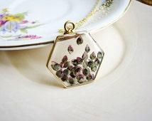 Flower Seeds Necklace, Hexagonal Flower Pendant Necklace, Geometric Necklace, Flower Necklace, Pink Flower Necklace, Pressed Flower Necklace