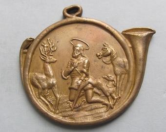 Antique Saint Hubert Religious Medal Holy Stag Catholic Pendant   SS02