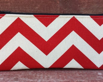 Long Zipper Pouch Red Chevron Handmade in Iowa
