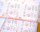 Petite Wrap LOVE Cats and Dogs - Dog and Cat Wrapping Paper Set of 4 sheets - Small wrapping paper sheet - Holiday Wrap for small packages