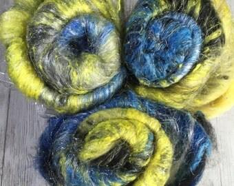 Fiber art batt spinning felting roving top Starry Night inspired - (Textured) - baby alpaca ultrafine merino silk w/ or w/o sparkle- 2.0 oz