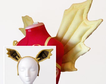 Yellow Bat Pony Wings & Ears. Vampire Pegasus Costume.
