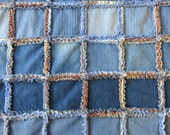 Fleece backed Denim Blanket Twin Upcycled Blue Jeans Rag Quilt Large Throw blue & brown back