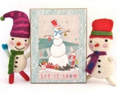 Snowman Wall Decoration - Let it Snow Holiday Decoration - Christmas Housewarming Gift - Woodland Home Decor