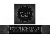 Etsy Shop Banners - Etsy Banners - Black Etsy Shop Banner - Geometric Etsy Shop Banners - Etsy Banner Sets - 2 Piece - 2-16