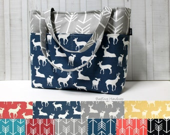 Design Your Own - Grey Arrow and Buck Deer Tote Bag /  Diaper Bag /  Medium Bag