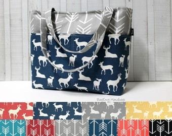 Design Your Own - Grey Arrow and Buck Deer Tote Bag /  Diaper Bag /  Medium Bag