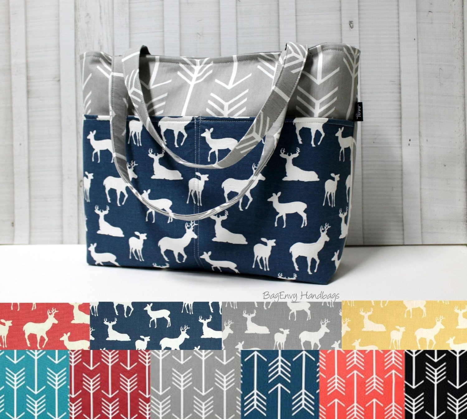 design your own grey arrow and buck deer tote bag diaper. Black Bedroom Furniture Sets. Home Design Ideas