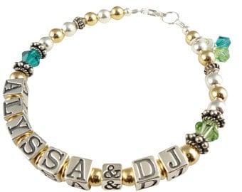 Mother's Bracelet - Sterling Silver & 14k gold- Personalized Name- swarovski crystal birthstone, peridot, blue zircon, any colors
