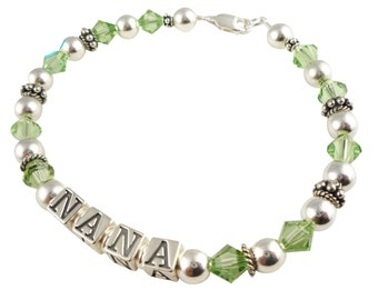 Free Shipping Nana Bracelet- Mothers Bracelet-peridot birthstone-any color Swarovski or personlization/Mom/Grandma/Mimi/Gammy-silver crystal